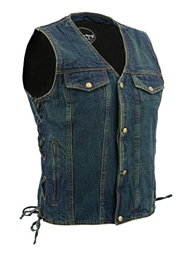 M Boss Apparel BOS13005 Mens Blue Side Lace Denim Vest with Denim Style Chest Pockets - 2X-Large