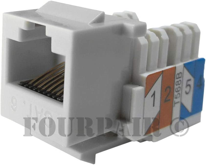 CAT6 Network RJ45 Port 110 Punch Down Keystone Snap-in Jack White 50x Pack Lot