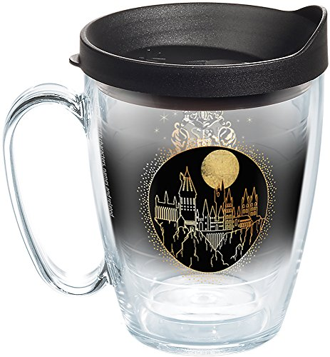 (Tervis 1267952 Harry Potter - Hogwarts Sketch Tumbler with Wrap and Black Lid 16oz Mug, Clear)