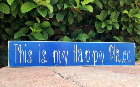 This Is My Happy Place 18x4 (Choose Color) Custom Rustic Fun Welcome Door Wall Wood Sign