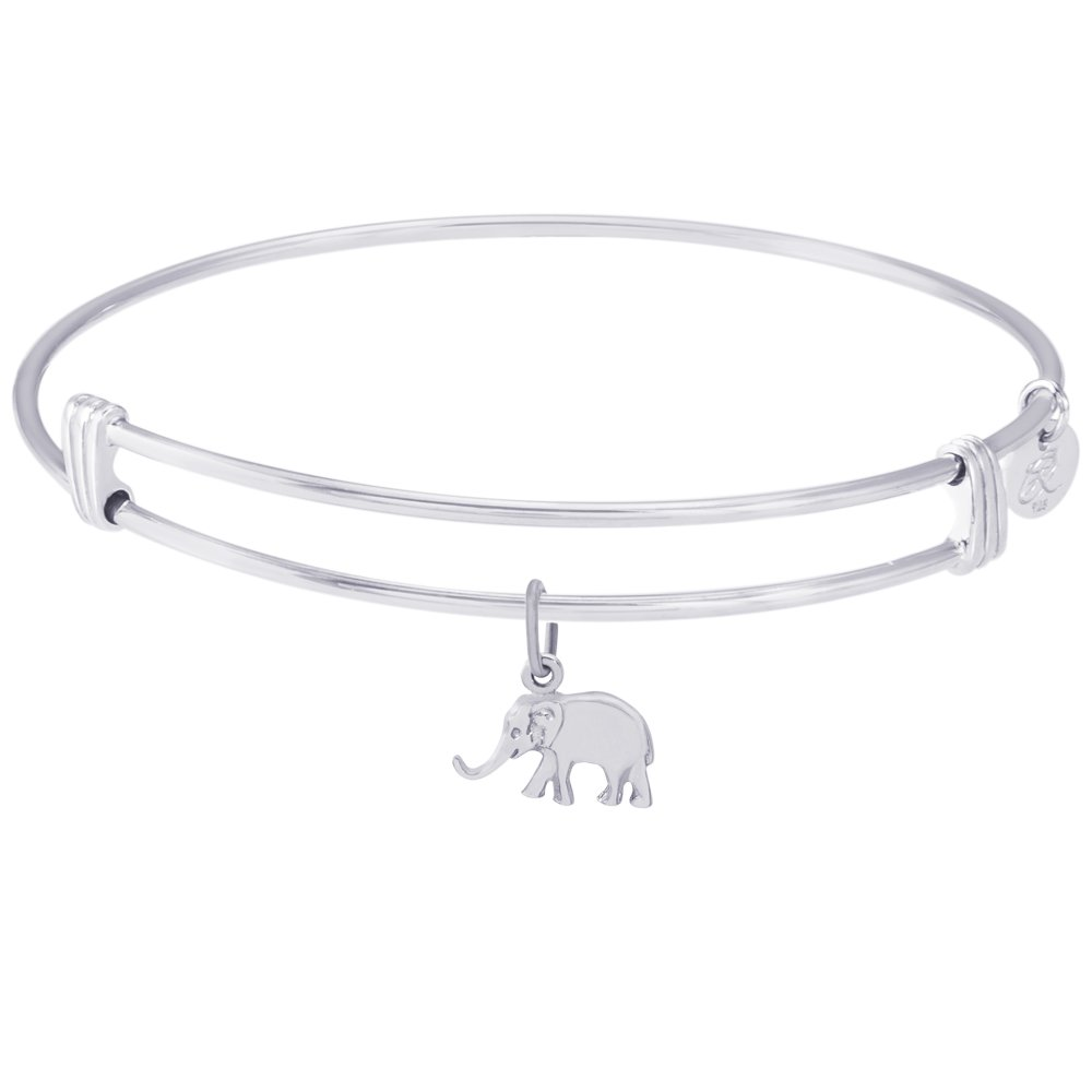 Sterling Silver Rembrandt Elephant Charm Expandable Wire Noble Bangle