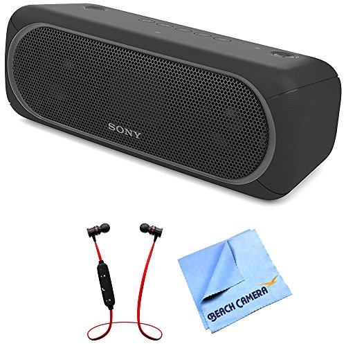Sony XB40 Portable Wireless Speaker with Bluetooth Black (SRSXB40/BLK) with Xtreme Fusion Bluetooth Headphones Black/Red & 1 Piece Micro Fiber -