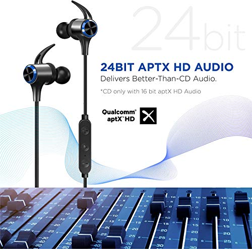 Wireless Headphones, Upgraded Boltune Bluetooth 5.0 aptX HD CVC 8.0 Noise Cancellation IPX7 Waterproof 16Hrs Playtime, 3EQ Settings, Magnetic Connection Earphones for Running Built-in Mic (Black Blue)