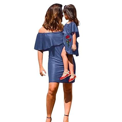 bd32fef9290 Amazon.com   Franterd Mom&Me Denim Dress Mom   Baby Parent-Child Rose  Embroidery Slim Off Shoulder Dresses Family Matching Clothes   Sports    Outdoors