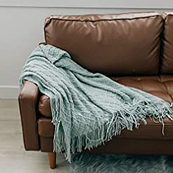 Bedroom Graced Soft Luxuries Throw Blankets Textured Soft for Sofa Couch Decorative Knitted Farmhouse Fringe Blanket (Sky Gray… farmhouse blankets and throws