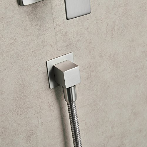 Aquafaucet Brushed Nickel Bathroom Luxury Rain Mixer Shower Combo Set Wall Mounted Rainfall Shower Head System (Contain Shower faucet valve body and trim) by Aquafaucet (Image #7)
