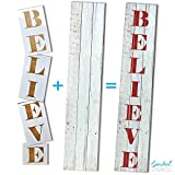 Essential Stencil Extra Large 50 inch BELIEVE CHRISTMAS STENCIL for Painting on Wood | Ideal for Vertical Porch Sign (Rustic Holiday Entrance Sign)