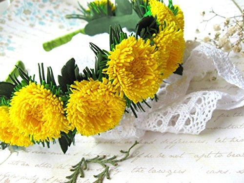 Yellow flower crown Dandelion Rustic head wreath