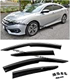 For 16-Up Honda Civic X 4Dr Sedan Clip-On Mugen Style Smoke Tinted JDM Side Window Visors Rain Guard Deflectors W/ Chrome Trim 2016 2017 16 17