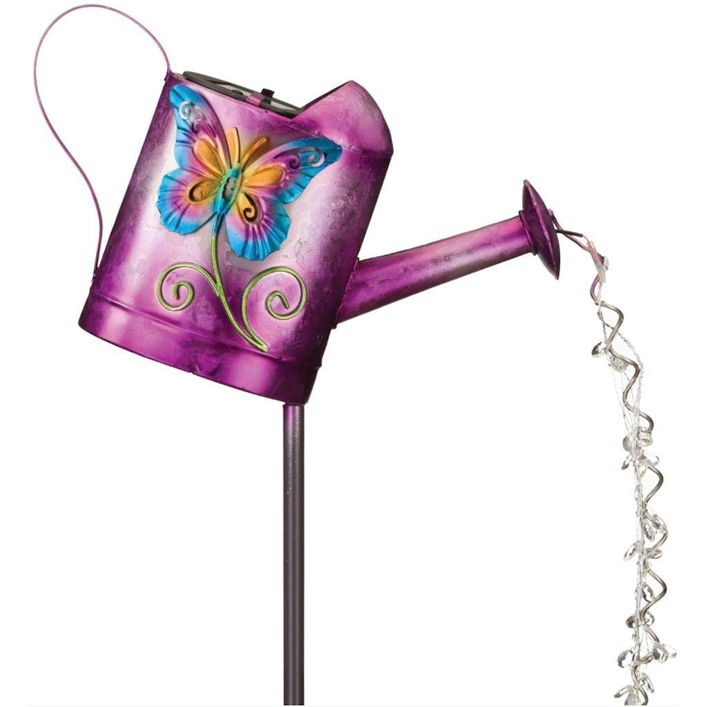Regal Art & Gift Solar Watering Can Stake Butterfly