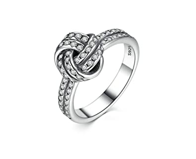 Dixey Luxury Anillos 925 Sterling Silver LOVE KNOT SILVER RING WITH CUBIC ZIRCONIA (7)