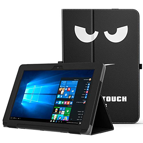 MoKo ASUS Transformer Book T101HA Case, Slim Folding Stand Cover Case with Built-in Hand Strap and Keyboard Portfolio Feature for 10.1 ASUS Transformer Book T101HA Tablet 2016 Release, Dont Touch Me