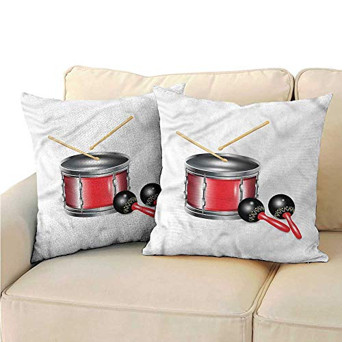 WinfreyDecor Maracas Fashion Pillowcase Drums with Sticks Carnival with Hidden Zipper W23 x -