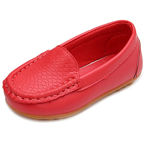 LONSOEN Toddler/Little Kid Boys Girls Soft Synthetic Leather Loafer Slip-On Boat-Dress Shoes/Sneakers,Watermelon Red,SHF103 CN25