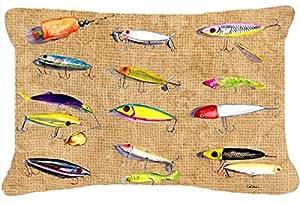 Señuelos de Pesca, tela de lona almohada decorativa