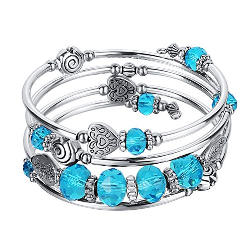 Pearl&Club Bead Crystal Wrap Bangle Bracelet - Fashion Jewelry Beaded Bracelet with Silver Metal, Gifts for Women (A:Blue Crystal)