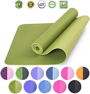 Amazon.com: Fitness TPE Yoga Mat 6 mm de espesor ...