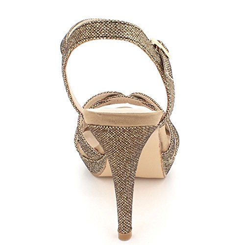Fête Mariage Sandales Forme Pailleté Taille Soir De Plate Dames Haut des Femmes Chaussures mariée Marron Talon tqH4wIH