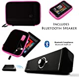 Drum BLACK with PINK Edge and Back Pocket Carrying Sleeve For Samsung Galaxy Tab 3 Android Tablet 7-inch Display Thinner Bezel + Supertooth Disco Bluetooth Speaker with AUX Cable
