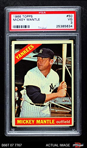 1966 Topps # 50 Mickey Mantle New York Yankees (Baseball Card) PSA 3 - VG Yankees from Topps
