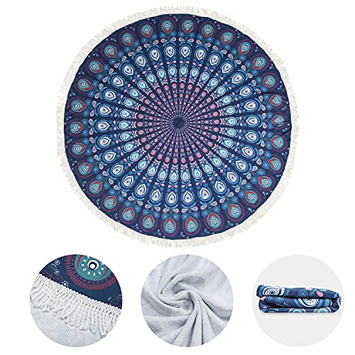Round Beach Towel,Circle Blanket, Microfiber Beach Towel Oversized, Gigantic Quick Dry Towel with Fringe, Sand Cloud Towel, Multi- Purpose Over-Sized Blanket
