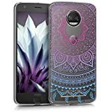 kwmobile TPU Silicone Case for Motorola Moto Z2 Force - Crystal Clear Smartphone Back Case Protective Cover - Blue Dark Pink Transparent