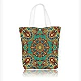 Women's Canvas Tote Handbags with Style Islamic Motifs Oriental Design Red Green Blue Casual Top Handle Bag Crossbody Shoulder Bag Purse W16.5xH14xD7 INCH
