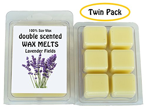 Lavender Fields DOUBLE SCENTED SOY WAX MELTS - WAX TARTS (Twin Pack-6.5oz). The Well-Rounded Combination of Fresh Lavender and a Hint of Vanilla bean. Made in USA