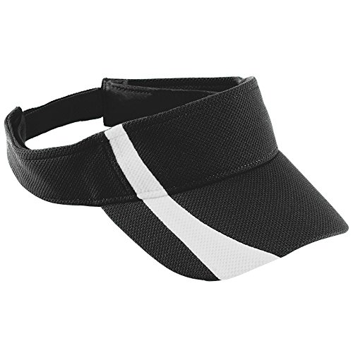 Augusta Sportswear Adult Adjustable Wicking MESH Two-Color Visor OS Black/White -
