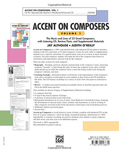 Accent on Composers: Comb Bound Book & Enhanced CD: Jay Althouse ...