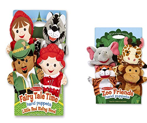 Melissa & Doug Fairy Tale Friends Hand Puppets (Set of 4) - Little Red Riding Hood, Wolf, Grandmother, and Woodsman and Zoo Friends Hand Puppets (Set of 4) - Elephant, Giraffe, Tiger, and Monkey