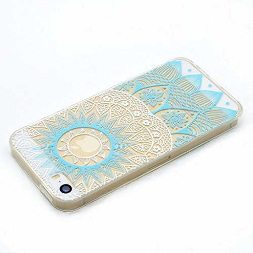 Ultra Mince Transparent Soft TPU Housse Protection Silicone Cristal Clair Case Rayures Mandala Mint Bleu Etui Cover Coque pour Apple iPhone 6 Plus / 6S Plus (non applicable iPhone 6S)