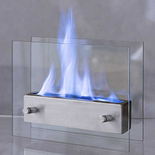 Costway Portable Tabletop Fireplace Ventless Bio Ethanol Garden Fire Stainless Steel by COSTWAY