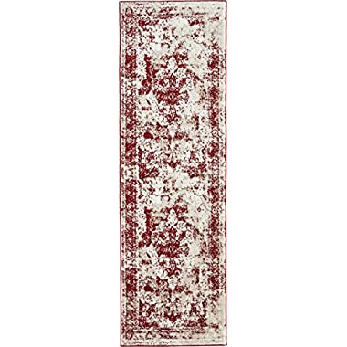 Unique Loom Sofia Collection Burgundy 2 x 7 Runner Area Rug (2' x 6' 7 )