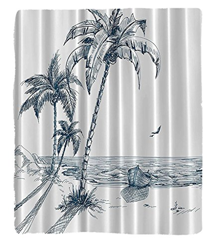 Chaoran 1 Fleece Blanket on Amazon Super Silky Soft All Season Super Plush Palms Beach Tropical Decorhadow Wooden Boat Ocean Waves Rocks Desert Islketch Pencil Drawing Lovely Design Navy Teal Woven F (Halloween Stores In Palm Desert)