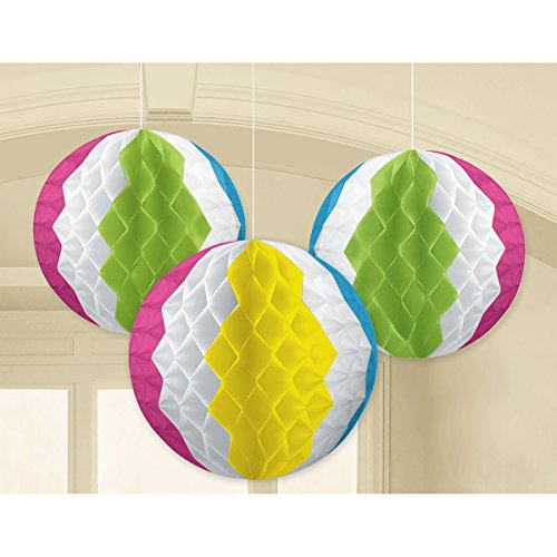Amscan Beach Ball Party Honeycomb Decorations, 3 Ct.]()