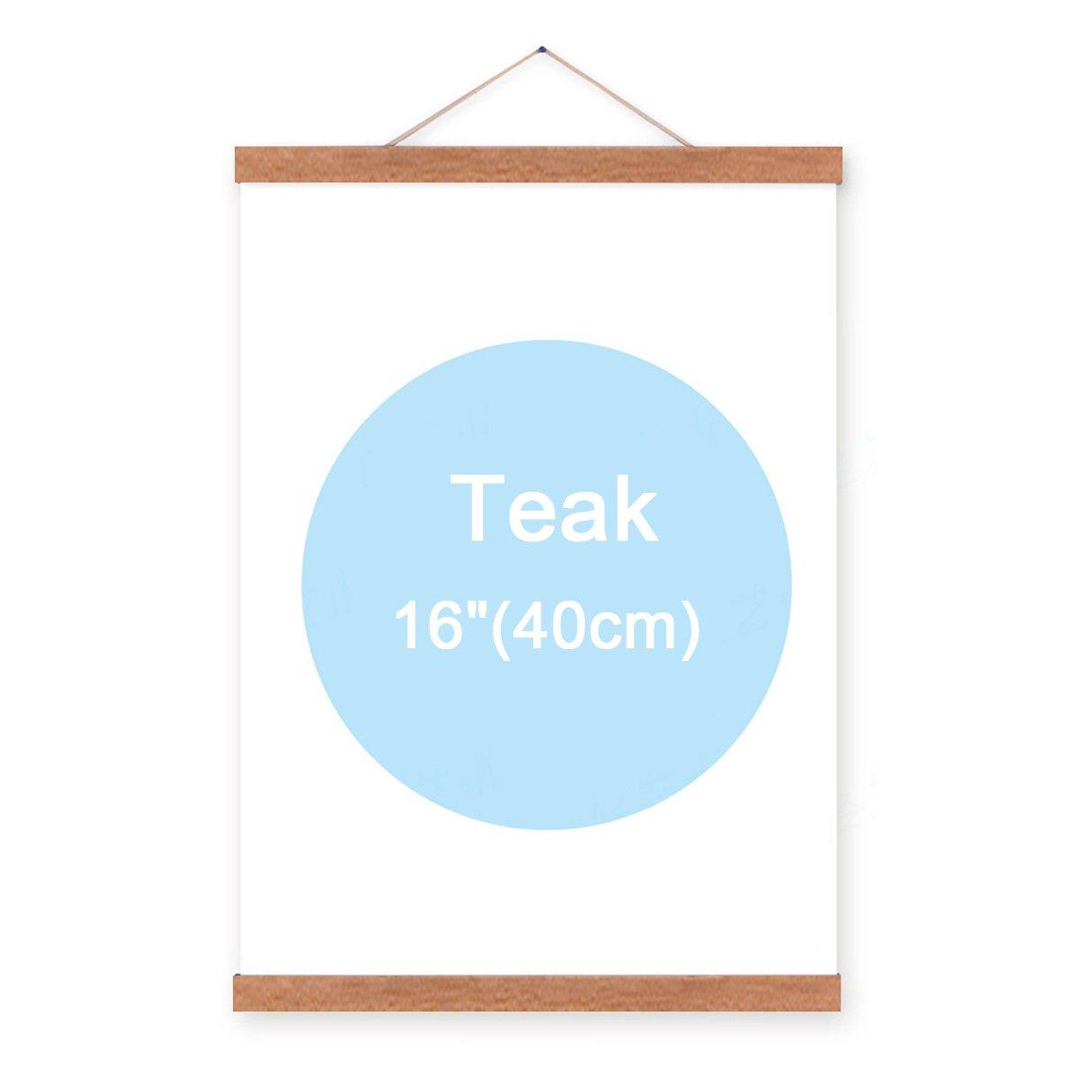 16'' Natural Wood Magnetic Frame Poster Print Artwork Canvas Hanging Quilt Clip Hanger-Teak Color
