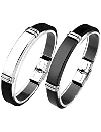 Jusnova men women stainless steel bracelet PU leather...