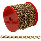 Campbell 0717017 Hobby and Craft Twist Chain, Brass Plated, #70 Trade, 0.043 Diameter, 5 lbs Load Capacity, 82 Feet Mini Reel by Apex Tool Group