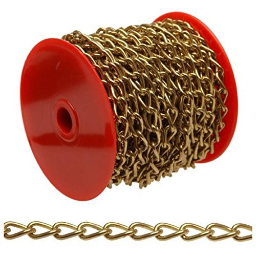 Campbell 0717017 Hobby and Craft Twist Chain, Brass Plated, #70 Trade, 0.043 Diameter, 5 lbs Load Capacity, 82 Feet Mini Reel by Apex Tool Group by Campbell Chain