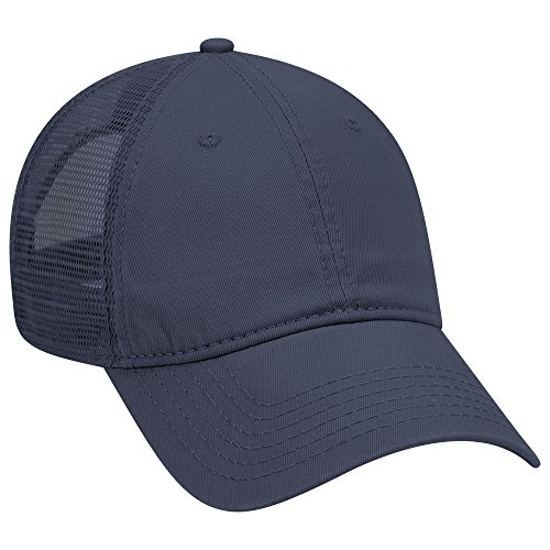 - OTTO Garment Washed Cotton Twill 6 Panel Low Profile Mesh Back Trucker Hat - Navy
