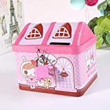 NOMSOCR Iron House Piggy Bank with Lock, Makes a Perfect Unique Gift, Nursery Décor, Keepsake, or Savings Piggy Bank for Kids Birthday Gift Christmas Home Decor (Pink)