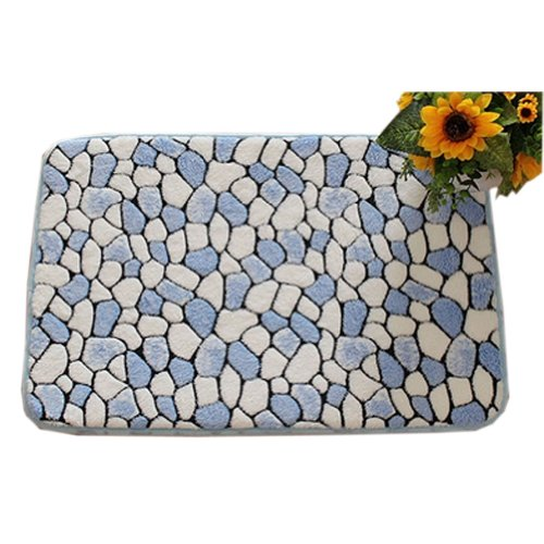 Coral Pebbles (Coral Fleece Pebble Grain Non-slip Cotton Doormats Rugs Blue 23.6