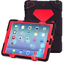 iPad Air 2 Case, iPad 6 Case, ACEGUARDER® [Shockproof] [Heavy Duty] [Military] Extreme Tough & Drop Resistance Soft Silicone Case with Kickstand for Apple iPad Air 2 (Whistle + Stylus Pen + Carabiner) (Black/Red)