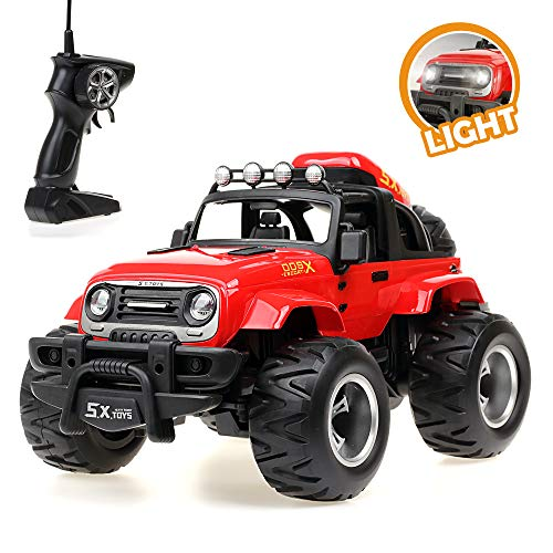 YOOKIED 1/14 Remote Control Monster Trucks, Radio Controlled Off-Road Vehicle Rock Crawler, RC Car for Kids (Red)