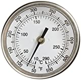 "PIC Gauge B3B4-RR 3"" Dial Size, 50/550°F and 10/288°C, 4'' Stem Length, Back Angle Connection, Stainless Steel Case, 316 Stainless Steel Stem Bimetal Thermometer"