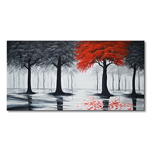 (Everfun Art Hand Painted Large Black and Red Forest Oil Painting On Canvas Modern Contemporary Landscape Wall Art Stretched Abstract Tree Artwork for Living Room Framed Ready to Hang ( 60 x 30 inch))