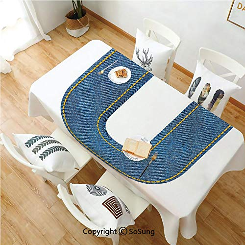 (Letter U Rectangle Polyester Tablecloth,Denim Letter Alphabet Design with Realistic Looking Fabric Texture Stitches Image Decorative,Dining Room Kitchen Rectangle Table Cover,54W X 90L inches,Blue Yel)