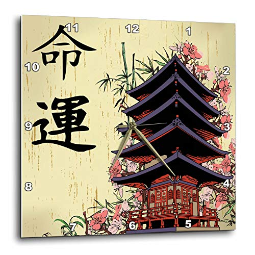 - 3dRose DPP_116193_3 Beautiful Japanese Pagoda with Pink Sakura and Bamboo Destiny Luck Kanji Symbols Asian Design-Wall Clock, 15 by 15-Inch