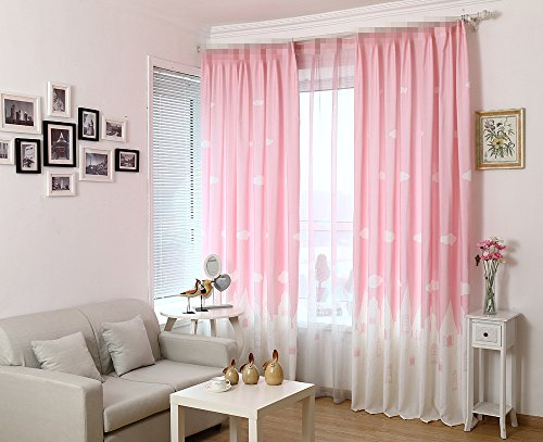Alifish Window Treatment Curtain Drape Panels Room Darkening Semi Blackout Draperies Curtains Grommet Cloud And Castle Pattern Curtain For Kids Room Bedroom Hot Pink 1 Panel W52 X L84 Inch